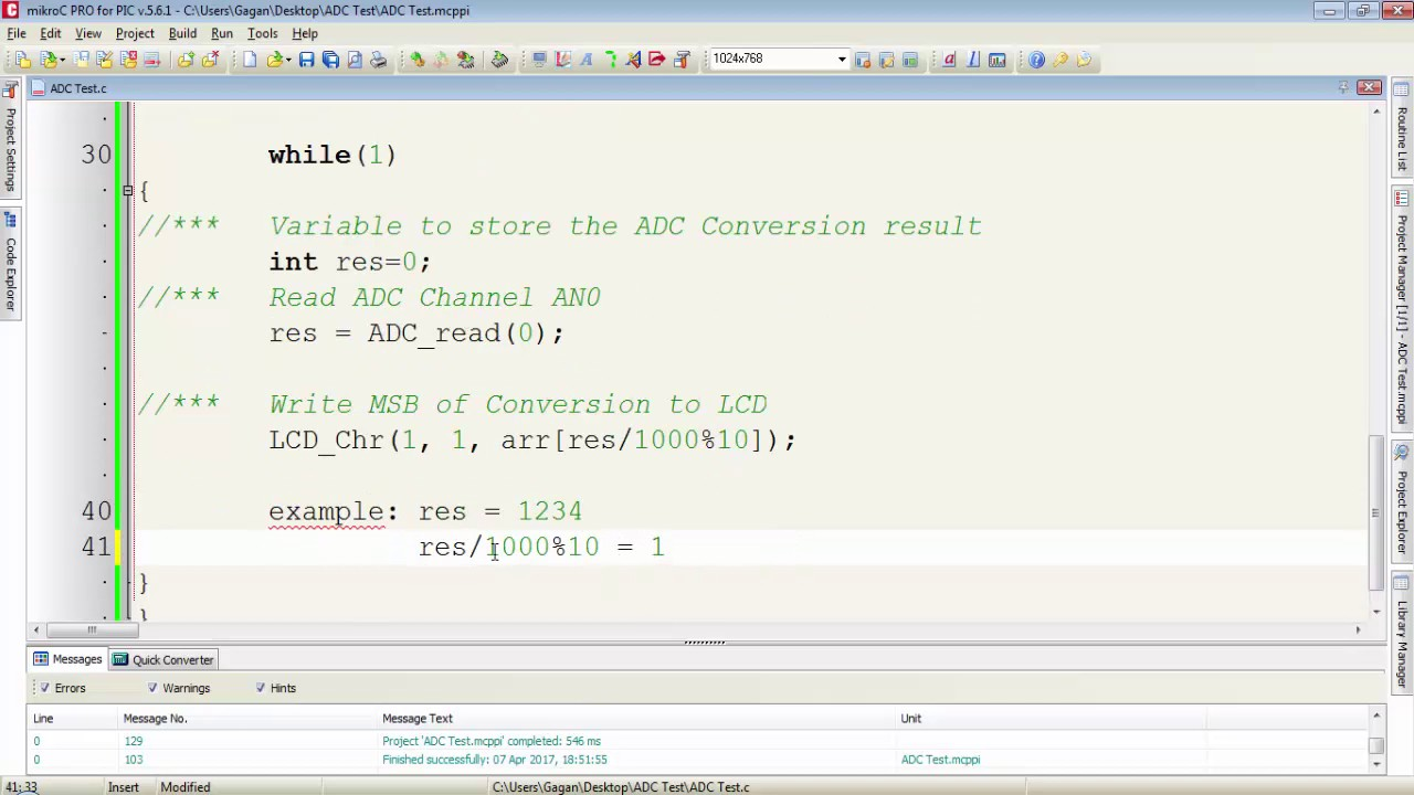 PIC16F886 Tutorial 13 - ADC and MikroC ADC Library