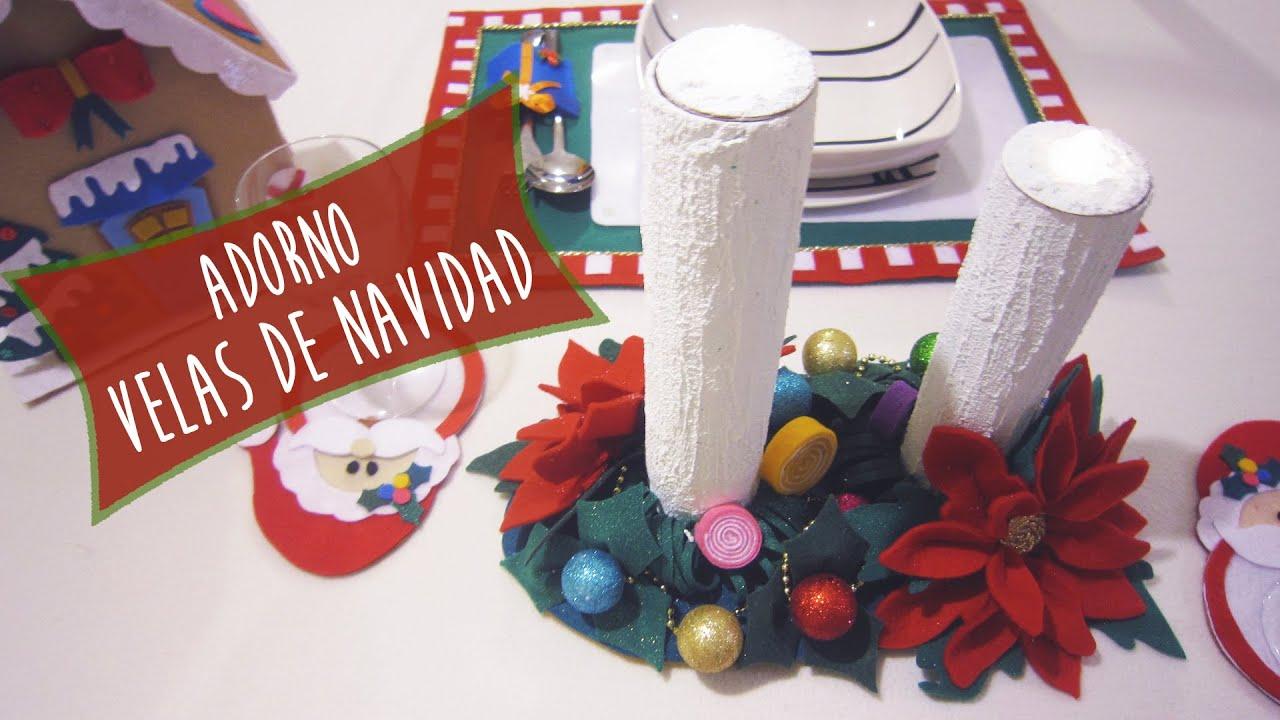 Velas navide as de jab n ideas decorar tu mesa en navidad - Centro de navidad con velas ...