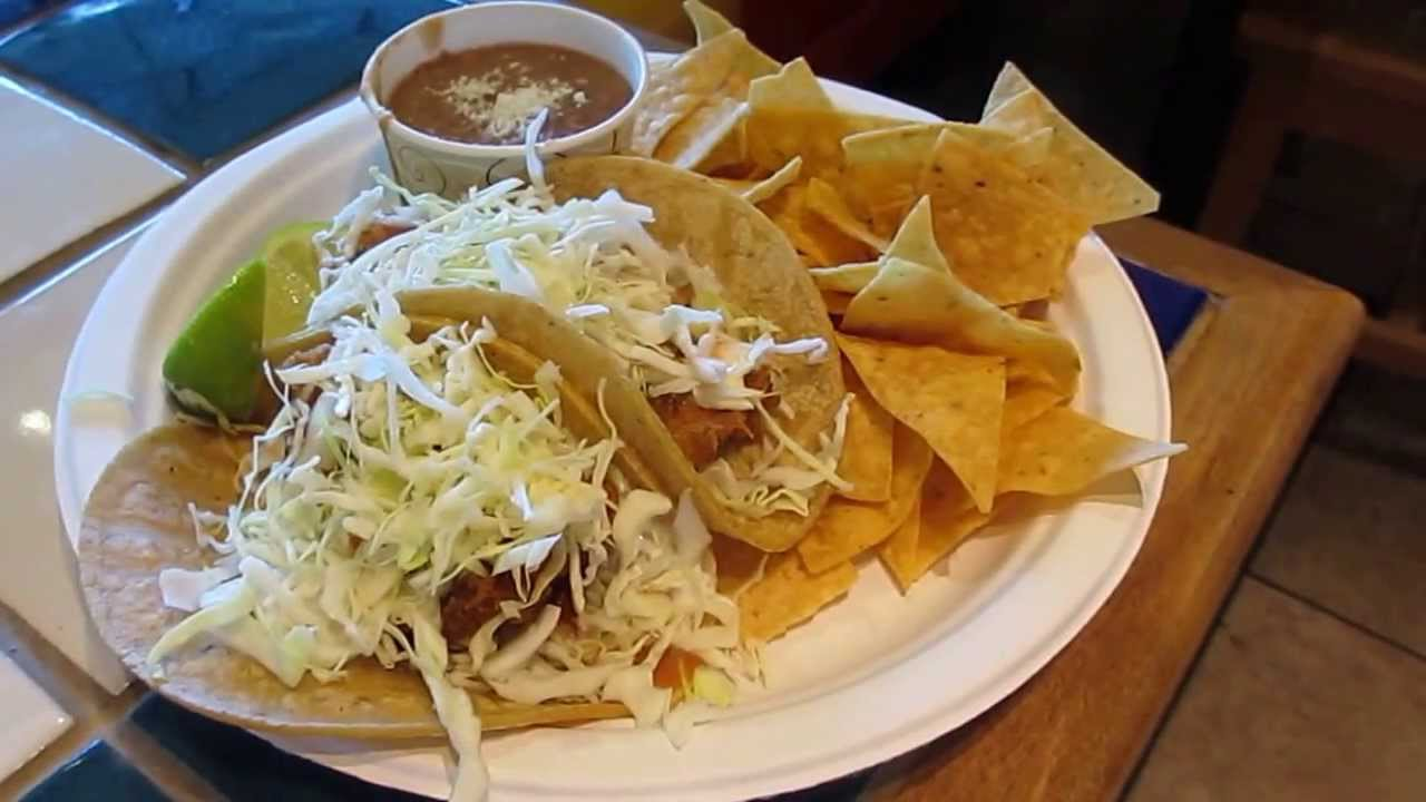 Rubio 39 s original fish tacos with pinto beans and tortilla for Rubios fish tacos