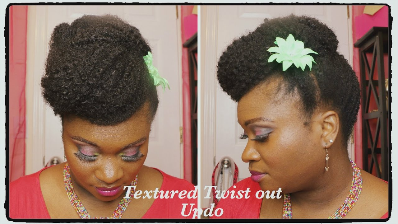 Fast And Easy Natural Hairstyle Textured Twist Out Updo Youtube