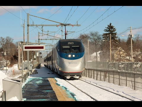 Thumbnail: FAST Amtrak Trains Kicking Up Snow