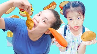 Kevin and Nina Learn to Sharing Vegetable and Fruits and Fried Chicken