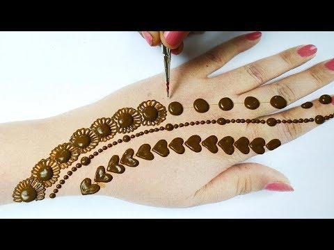 आसान अरेबिक मेहँदी डिज़ाइन लगाना सीखे - Easy Beautiful Mehndi Design on Backhand|Holi Special Mehndi