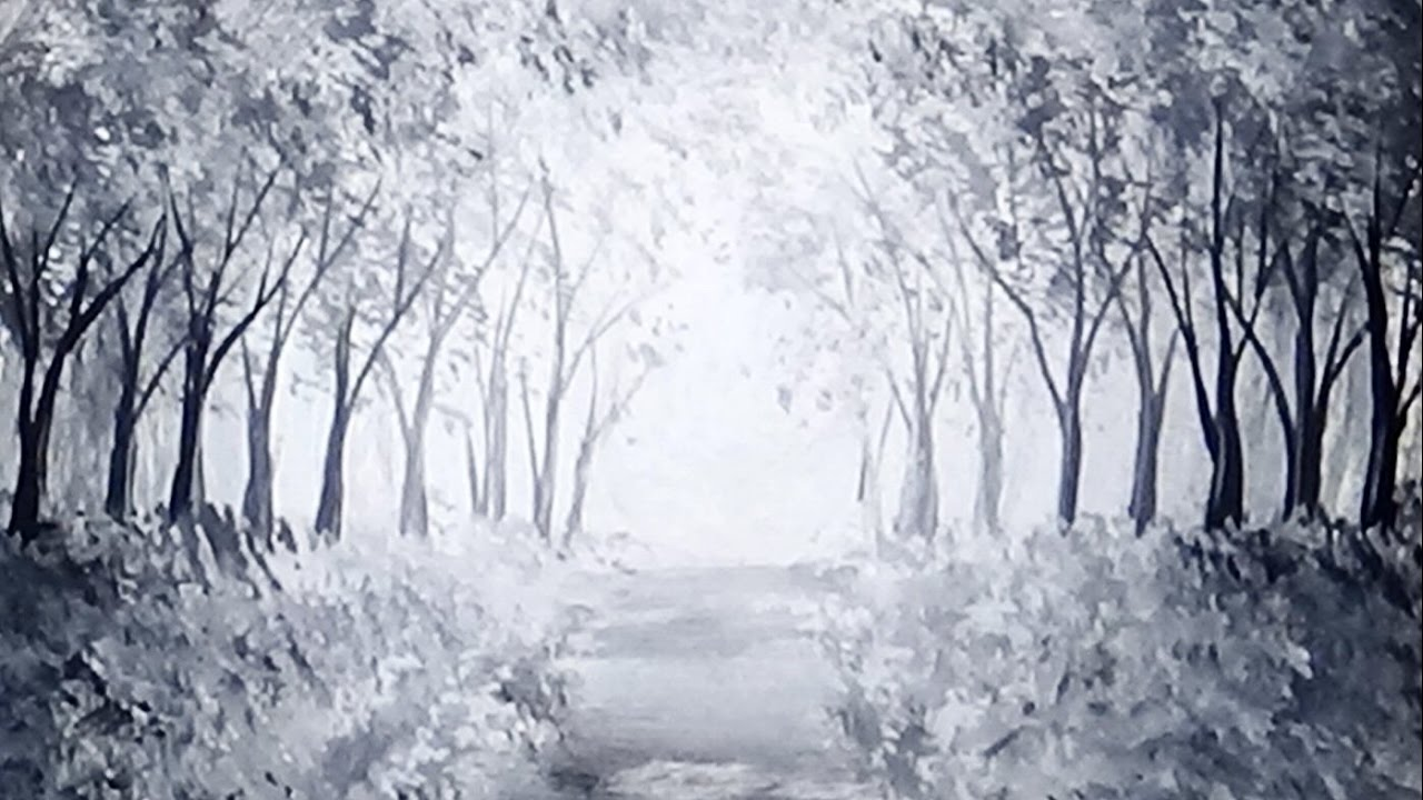 Sunlit Forest Path Acrylic Painting Black & White ...