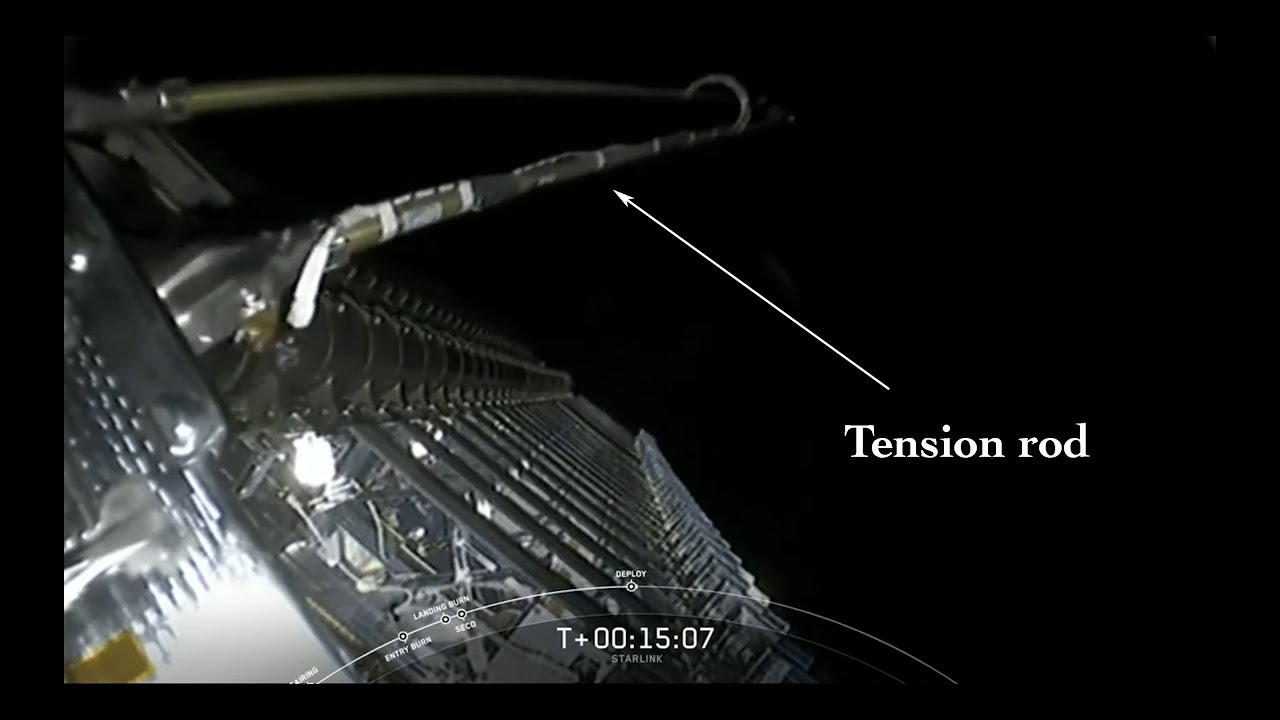 SpaceX Starlink tension rods on live coverage and on my photos