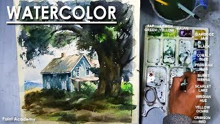 Cottage in the Woods - Watercolor Painting