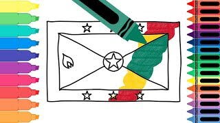 How to Draw Grenada Flag - Drawing the Grenadian Flag - Coloring Pages for kids | Tanimated Toys