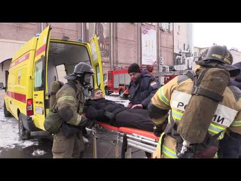 Пожарно-тактическое учение в здании Дома одежды в Хабаровске
