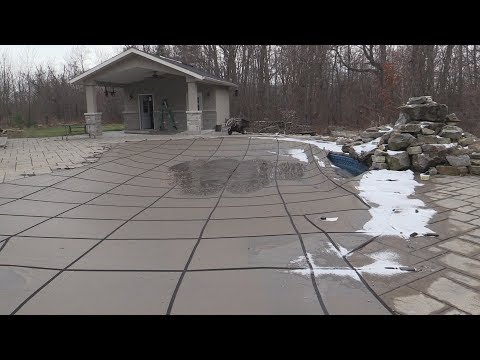 Walk on swimming pool safety cover winterization tip