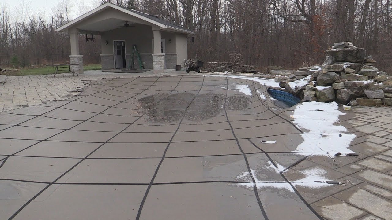 Walk on swimming pool safety cover - winterization tip - YouTube