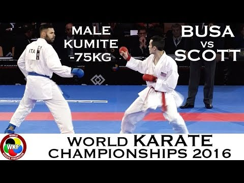BRONZE. Male Kumite -75kg. BUSA (ITA) vs SCOTT (USA). 2016 World Karate Championships