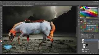 Tutorial Photoshop - Composición Fantástica - Caballo en Llamas