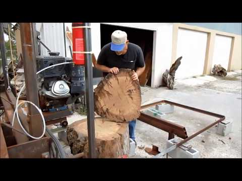 Homemade Sawmill Cutting 100+ Year Old Mesquite Biscuits Slices