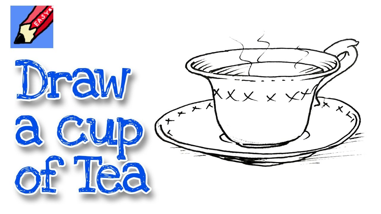 how to draw a cup of tea Real Easy for kids and beginners - YouTube