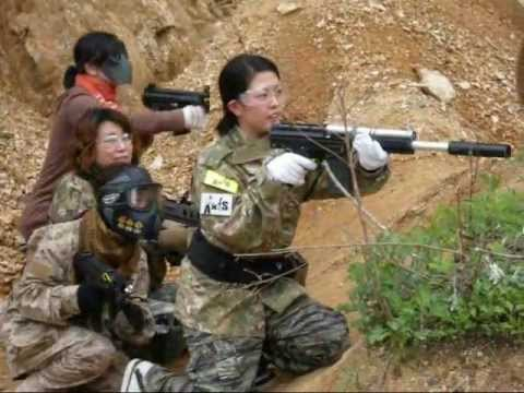 Interesting. Japanese girls with airsoft guns shooting apologise