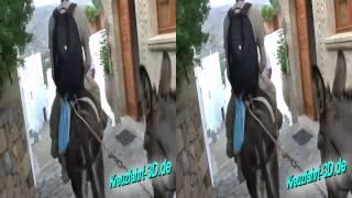 3D-Video: Eselritt runter von Akropolis von Lindos auf Rhodos (im Rahmen AIDA Ausflug RHO01)