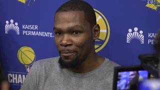 Durant on if he'll talk to OKC players when they're in town: 'Why do you care so much?'