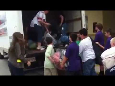 Oasis Middle School in Cape Coral, Florida loading up donations