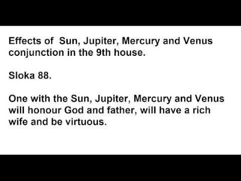 Sun, Jupiter, Mercury and Venus in the ninth house and their