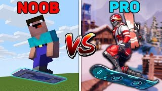 Minecraft NOOB vs PRO : MINECRAFT VS FORTNITE HOVERBOARD AND SNOWBOARD in Minecraft (Animation)