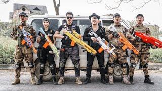 LTT Game Nerf War : Couple Police Warriors SEAL X Nerf Guns Fight Criminal Group Black Man