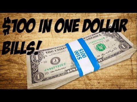 $100 IN ONE DOLLAR BILLS -Bank Strap Hunting-