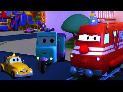 Troy el Tren y el carro Caramelo en Auto City  Dibujos animados para niños