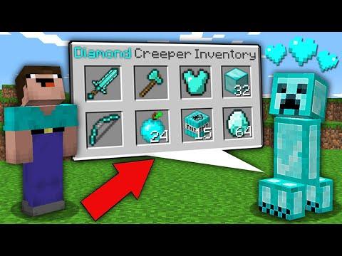 Minecraft NOOB Vs PRO: NOOB WAS SHOCKED WHEN OPEN SECRET INVENTORY THIS DIAMOND CREEPER! Trolling