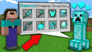 Minecraft NOOB vs PRO: NOOB WAS SHOCKED WHEN OPEN SECRET INVENTORY THIS DIAMOND CREEPER! trolling
