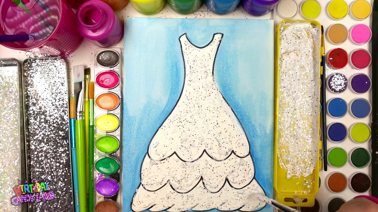 coloring page of a beautiful wedding dress to color with