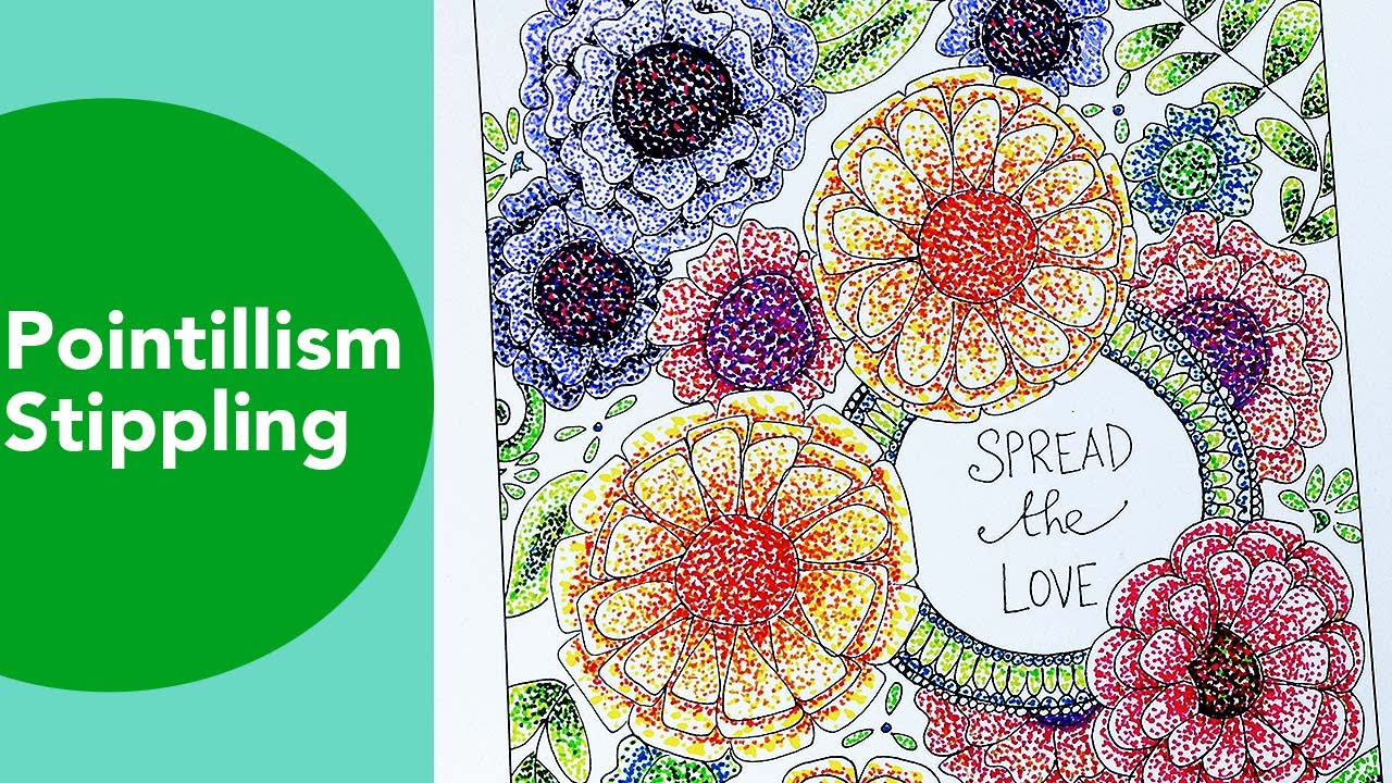 Pointillism, Stippling Time Lapse, Tombow, Adult Coloring techniques with  markers, flower colouring