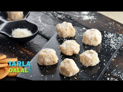 Coconut Ball Cookies, No Bake quick eggless cookies by Tarla Dalal