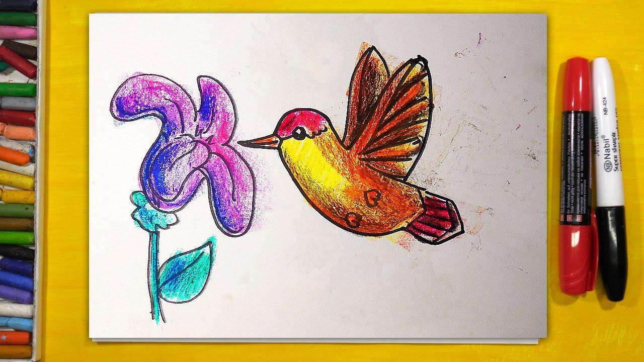 Как нарисовать КОЛИБРИ, Урок рисования для детей от 3 лет ...