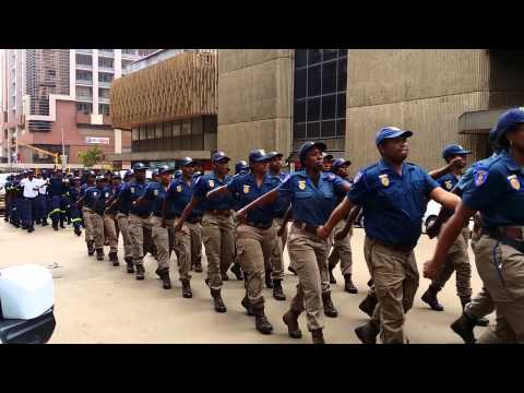 Police, Metro and Fire Fighters march down the streets of Pretoria, South Africa