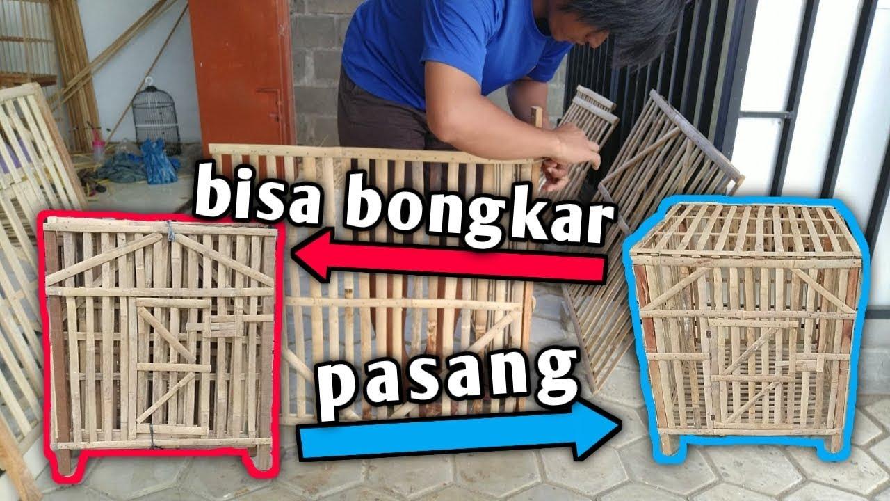 Cara membuat kandang ayam rakitan dari bambu - YouTube