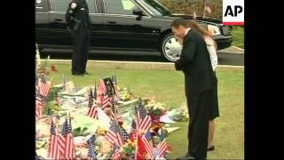 Nancy Reagan arrives to see coffin depart for library