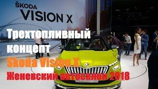 Трехтопливный авто будущего Skoda Vision X Женевский автосалон 2018 смотреть
