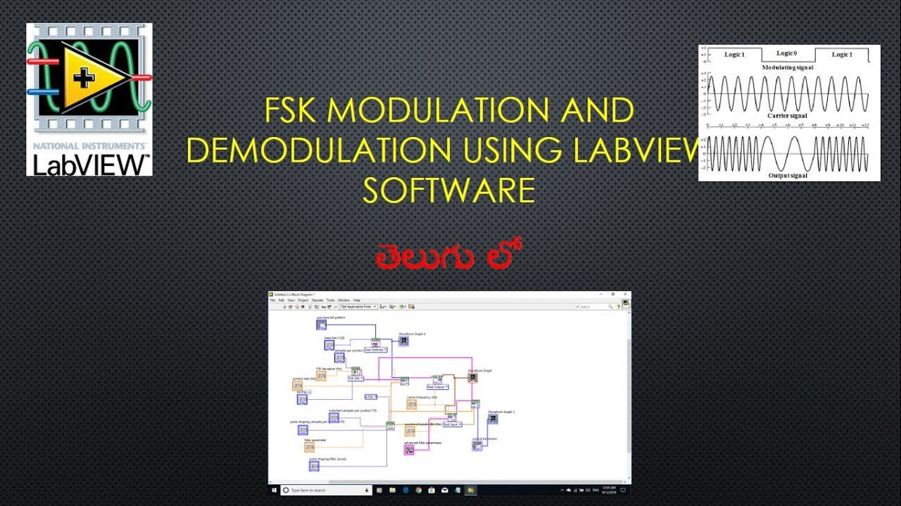 FSK modulation and demodulation using Labview software 2018 | Telugu |