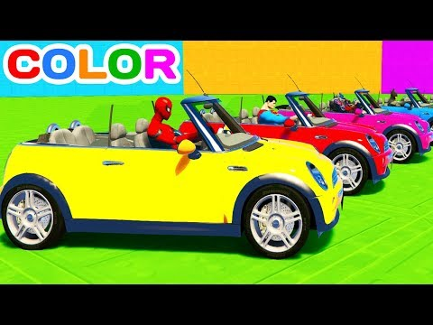 Thumbnail: FUN LEARN COLOR MINI COOPER CARS w/ Superheroes for Toddlers 3D animation for Kids