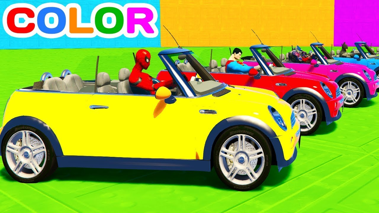 fun learn color mini cooper cars w superheroes for toddlers 3d animation for kids