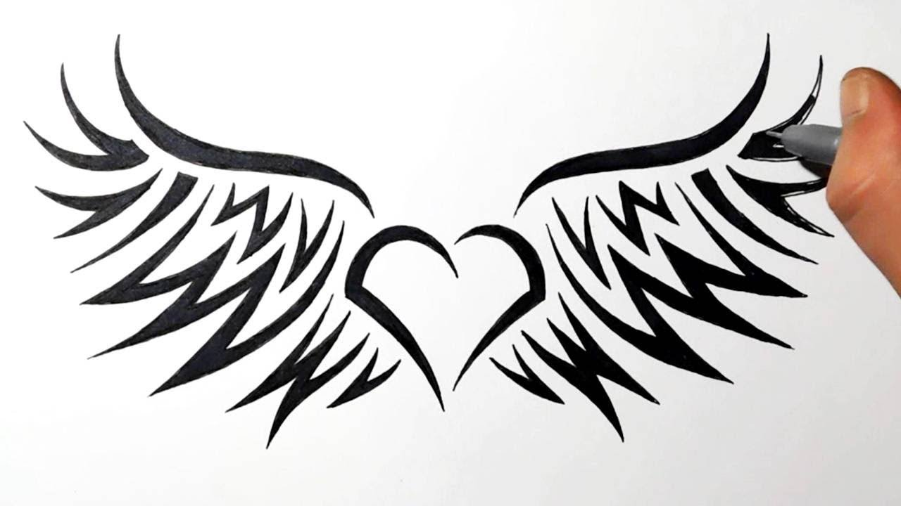 How to Draw a Heart with Wings - Tribal Style - YouTube