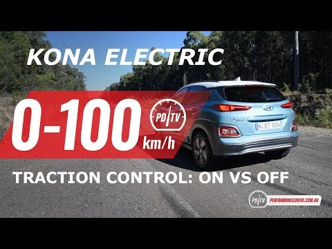 2019 Hyundai Kona Electric 0-100km/h (traction control ON vs OFF)