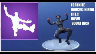 *NEW* ALL FORTNITE DANCES IN REAL LIFE! (Squat Kick, Disco Fever) *2018* *SYNC*