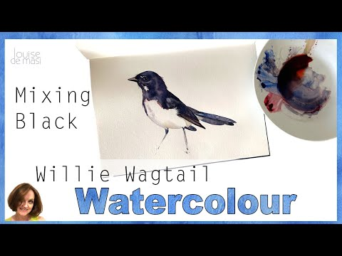 how-to-paint-a-bird-in-watercolor-//-how-to-mix-black-watercolor-paint