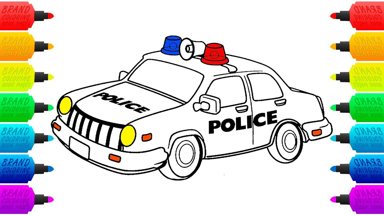 Police Car Coloring Page for Children