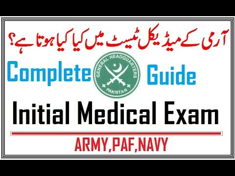 Initial Medical Test of Army,PAF and Navy (Problems & Solutions)