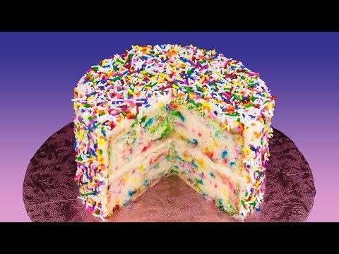 Funfetti Cake Recipe (Birthday Cake with Rainbow Sprinkles) from Cookies Cupcakes and Cardio