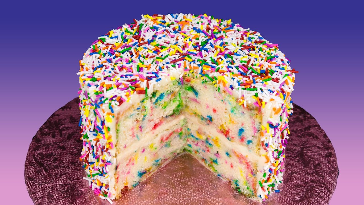 Funfetti Cake Recipe Birthday With Rainbow Sprinkles From Cookies Cupcakes And Cardio
