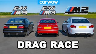 BMW E46 M3 vs E36 M3 vs M2 Comp: DRAG RACE