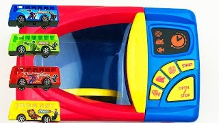 Learn Colors Microwave with Marvel Bus Spider-man Iron Man Hulk Captain America Toys For Kids